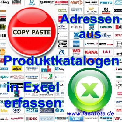 Artikel aus Produktkatalogen in Excel erfassen