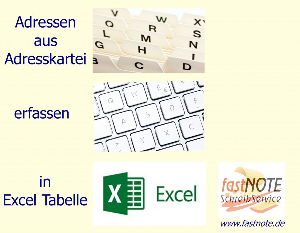 Adressen aus Adresskartei in Excel Tabelle erfassen_Fotor