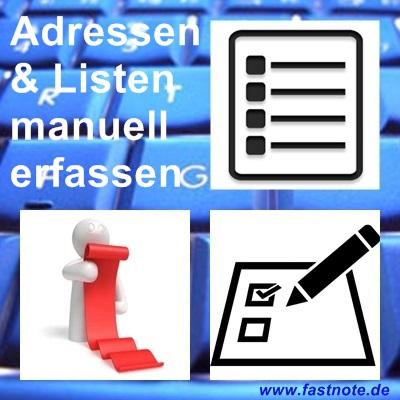 Adressen und Listen manuell erfassen
