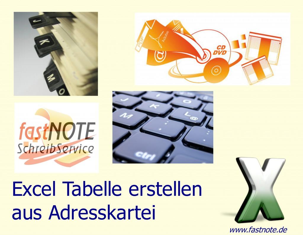 Excel Tabelle erstellen aus Adresskartei