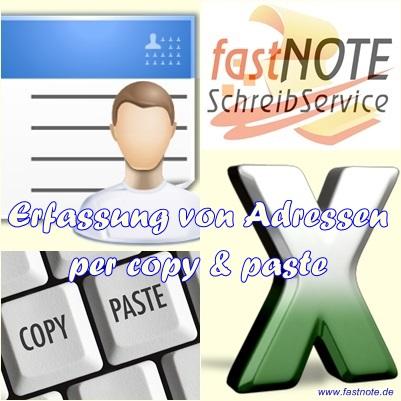 Erfassung von Adressen per copy & paste
