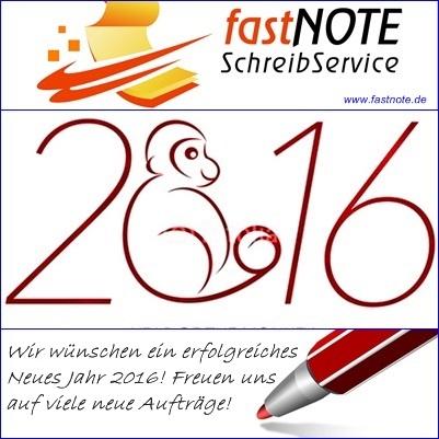 fastNOTE SchreibService 2016 Jahr des Affen