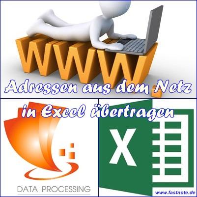 Adressen aus dem Netz in Excel übertragen