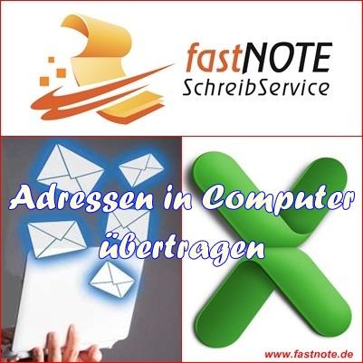 Adressen in den Computer übertragen