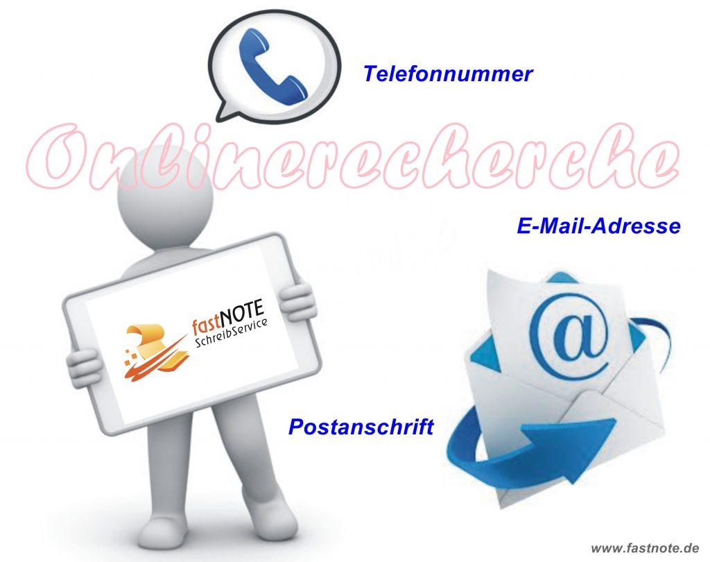 Onlinerecherche fastNOTE SchreibService