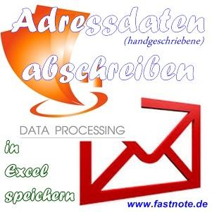 handgeschriebene Adressdaten abschreiben