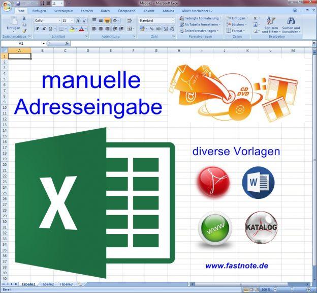 manuelle Adresseingabe in Excel