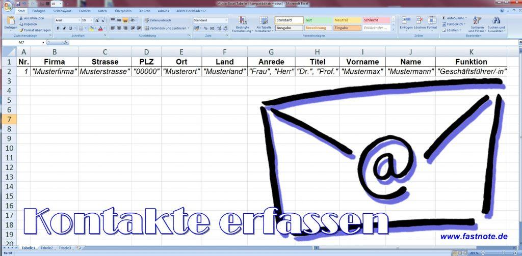 Kontakte erfassen fastNOTE SchreibService