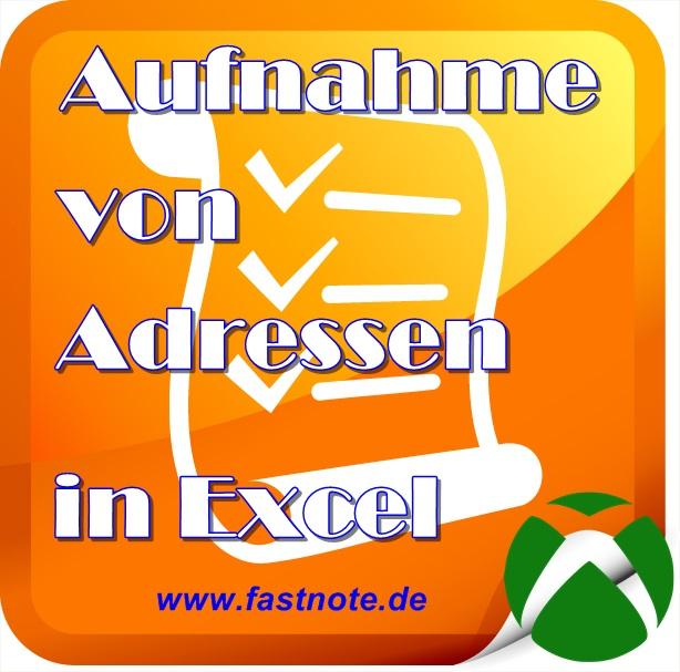 Aufnahme von Adressen in Excel