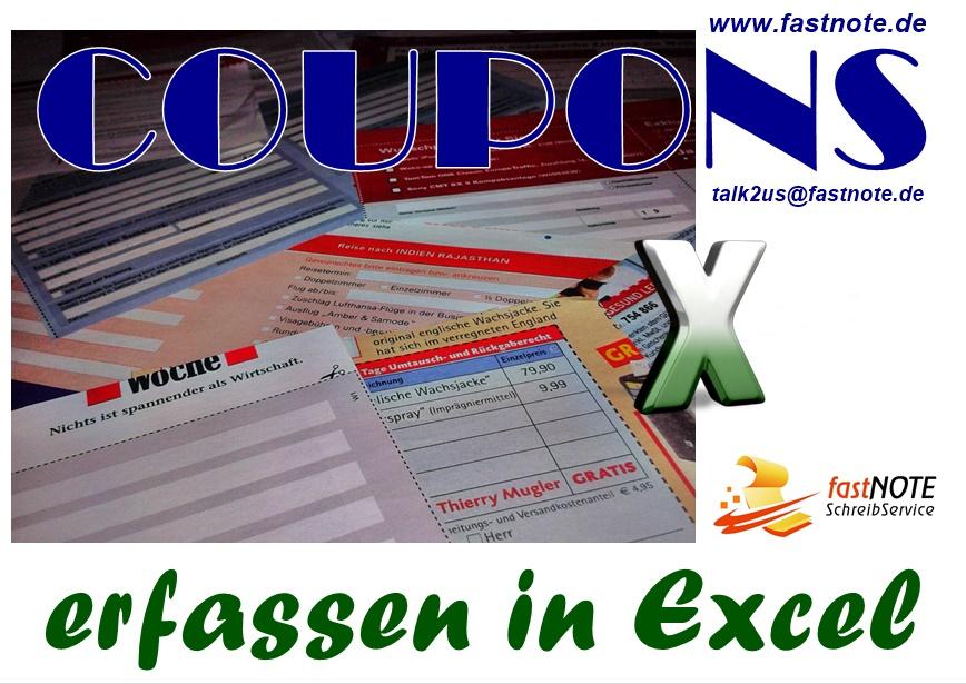 Per Hand ausgefüllte Coupons in Ecxel erfassen Büroservice für manuelle Schreibarbeiten