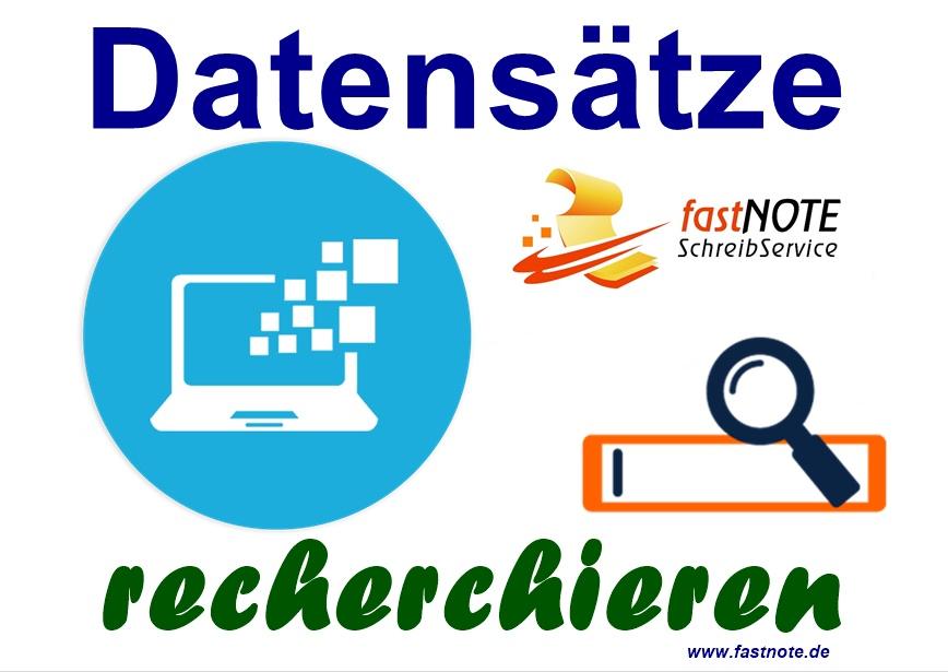 Datensätze recherchieren und in Excel erfassen Adressrecherche Datenrecherche Schreibservice Büroservice