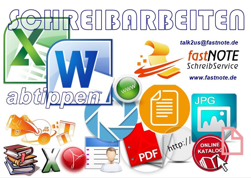 Schreibarbeiten abschreiben abtippen von diversen Quellen und Vorlagen in Excel oder Word