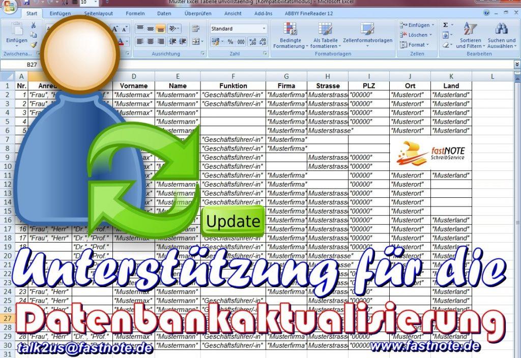 Unterstützung für die Datenbankaktualisierung Büroservice Adressdatenbankpflege - Adressen überprüfen korrigieren & bereinigen