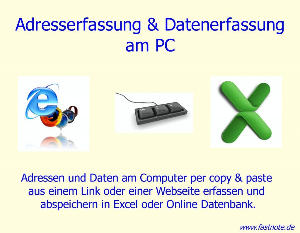 Daten erfassen am Computer - Datenerfassung - Daten übertragen in Excel IHR Büroservice für manuelle Schreibarbeiten