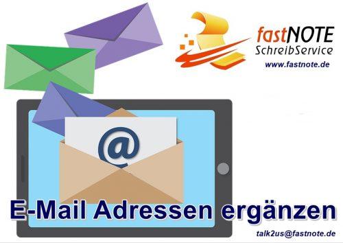 E-Mail Adressen ergänzen fastNOTE SchreibService Büroservice