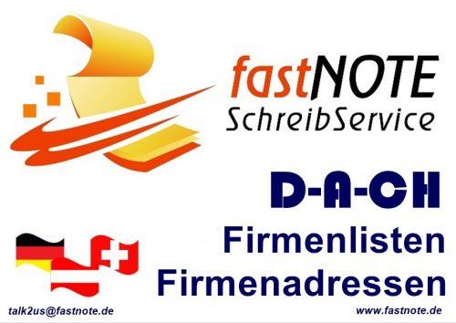 Firmenlisten & Firmenadressen D-A-CH Büroservice für manuelle Schreibarbeiten Datenerfassung Adresseingabe