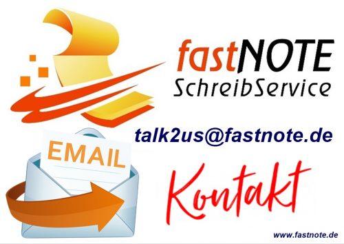 KONTAKT zu unserem Büroservice per E-Mail talk2us@fastnote.de