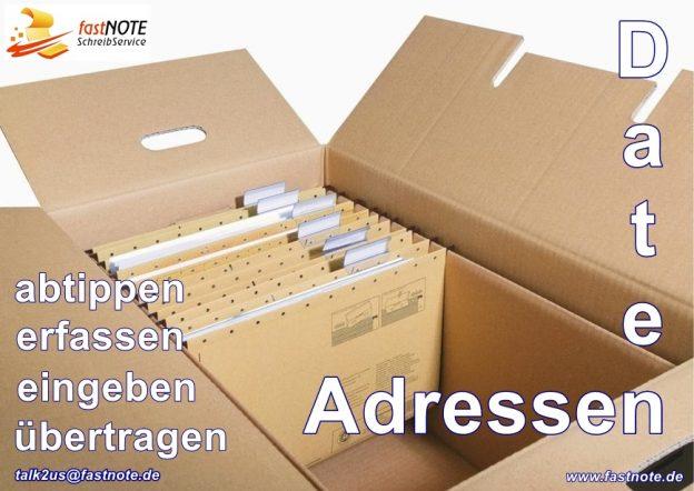 Adressen & Daten abtippen erfassen eingeben übertragen fastNOTE SchreibService IHR Büroservice für manuelle Schreibarbeiten